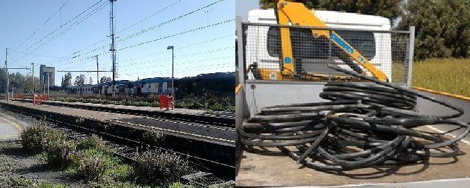 Rubava cavi di rame alla stazione