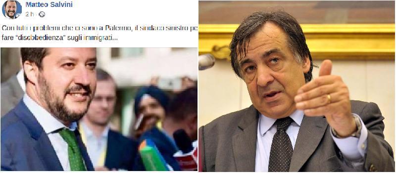 """Decreto sicurezza, Orlando disobbedisce. Salvini: """"Con i problemi di Palermo…"""""""