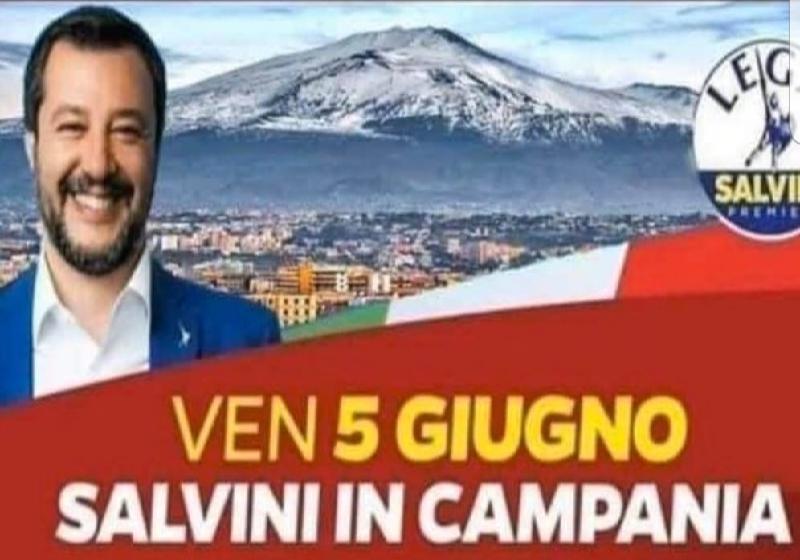 Etna o Vesuvio? Foto di Salvini fa discutere