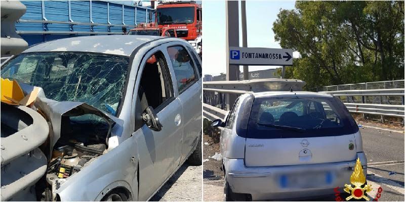 Catania, auto si schianta allo svincolo