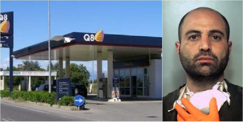 Scassina la colonnina di un Q8, arrestato