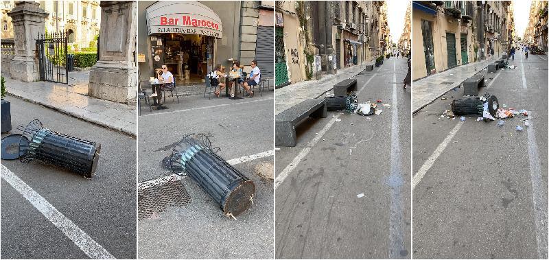 Palermo, 30 cestini divelti nella notte