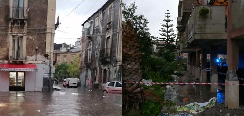 Catania, violenta ondata di maltempo