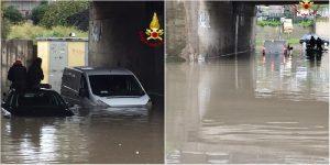 Catania, allagamenti e auto in panne