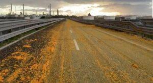 Strada catanese invasa dalla arance